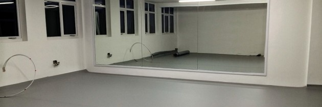 The dance studio is almost ready